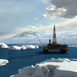 Oil platform in the Arctic Ocean, the oil production